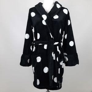 PINK VS Plush Black w/ White Polka Dots Robe